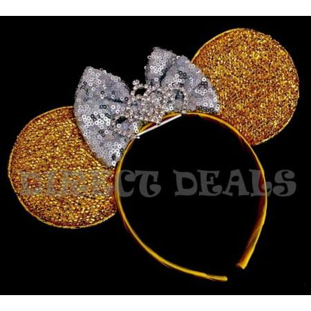 Minnie Mouse Princess BIG Tiara Crown Headband Shiny Yellow Gold Ears Silver - Big Tiaras