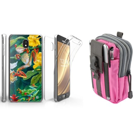 Beyond Cell Tri Max Series Compatible with Samsung Galaxy J7 J737 (J7 V 2nd Gen, Refine, Star, Crown, Aura, Top) with Slim Full Body Coverage Case (Rainforest Frog), Travel Pouch (Pink/Gray)