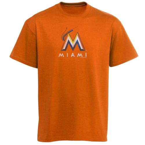 Miami Marlins Youth Distressed Logo T-Shirt - Orange