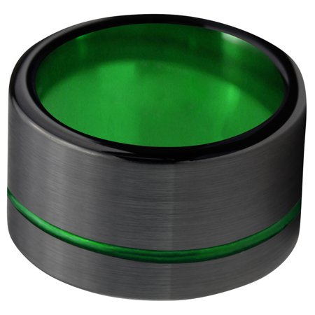 Tungsten Wedding Band Ring 12mm for Men Women Black Green Offset Line Flat Pipe Cut Brushed Polished Lifetime Guarantee - image 1 de 4