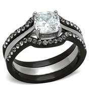 Ladies 1.75 Ct CZ Solitaire Stainless Steel Black Wedding Ring Set Size 5-11 NEW