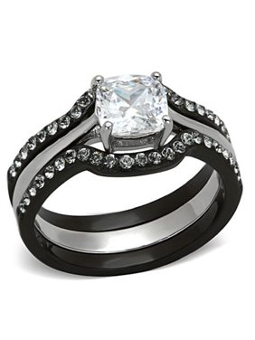 c218663418 Product Image Ladies 1.75 Ct CZ Solitaire Stainless Steel Black Wedding Ring  Set Size 5-11 NEW