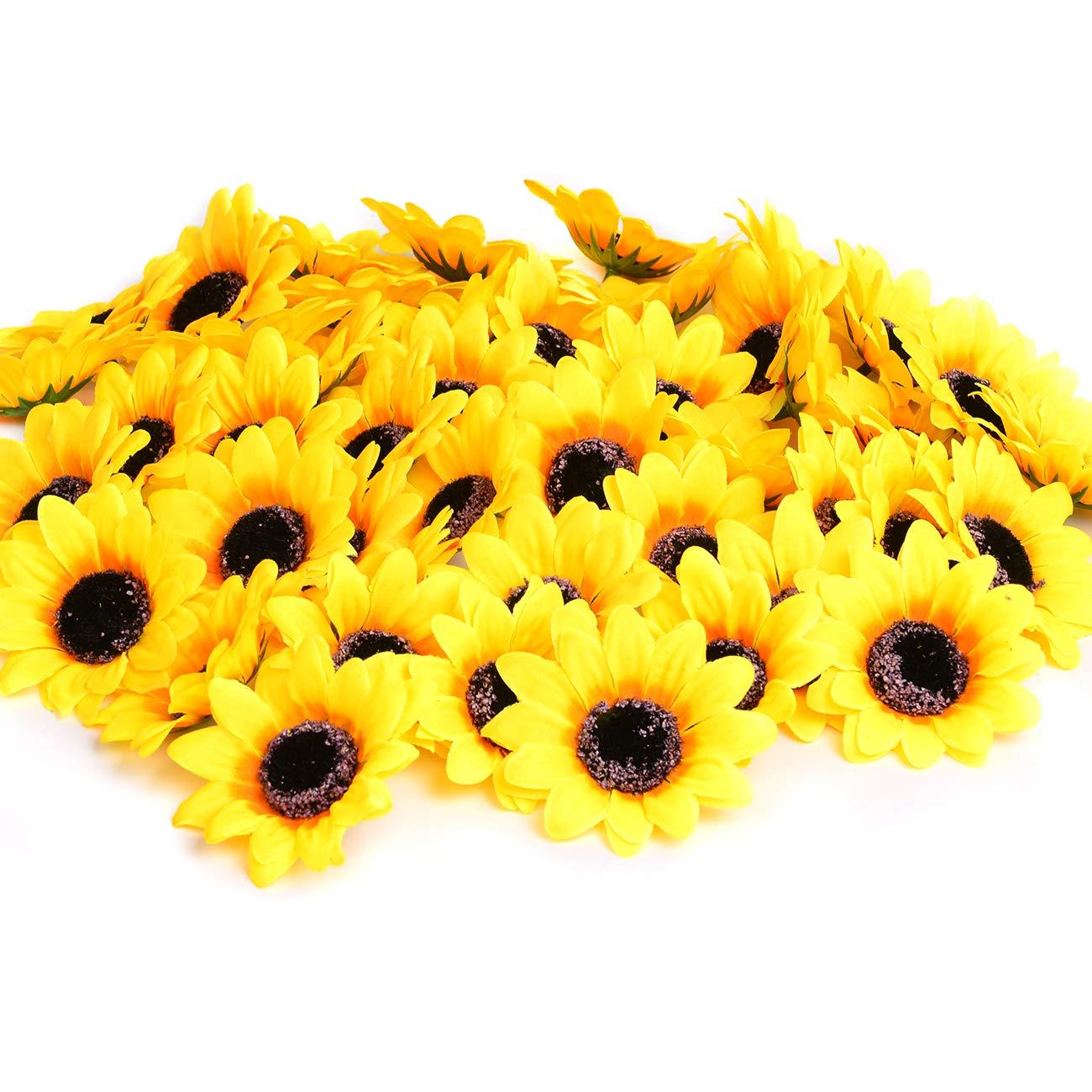 Artificial Sunflower 3-head Fake Yellow Flower Faux Flower Arrangement Centerpiece Thanksgiving Fall Decor Wedding
