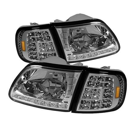 TD DRL LED Crystal Headlights + LED Corner Lights Set (Chrome) - 98- 03 Ford F-150 (03 Ford F150 Corner Light)