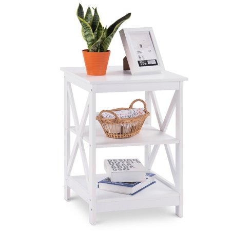 Living Room Nightstand (Costway 3-Tier Nightstand End Table Storage Display Shelf Living Room Furni White)