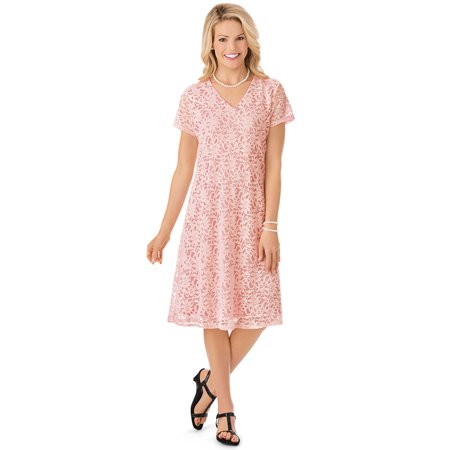 Fully Lined Short Dress Cocktail Dress - Women's V Neck All Lace Short Sleeve Dress, Just Below the Knee Hemline and Fully Lined, X-Large, Blush - Made in the USA