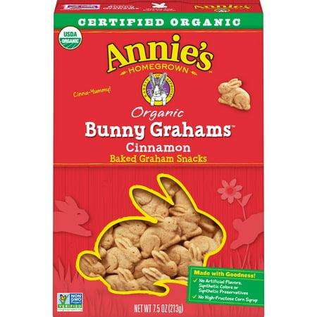 Annie's Organic Cinnamon Whole Grain Bunny Graham Snacks, 7.5 oz