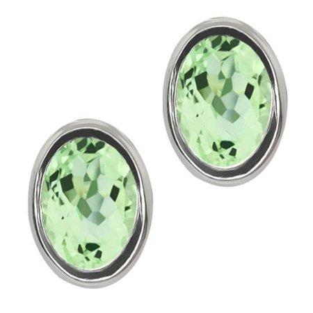 2.00 Ct Oval Shape Green Amethyst Sterling Silver Stud Earrings