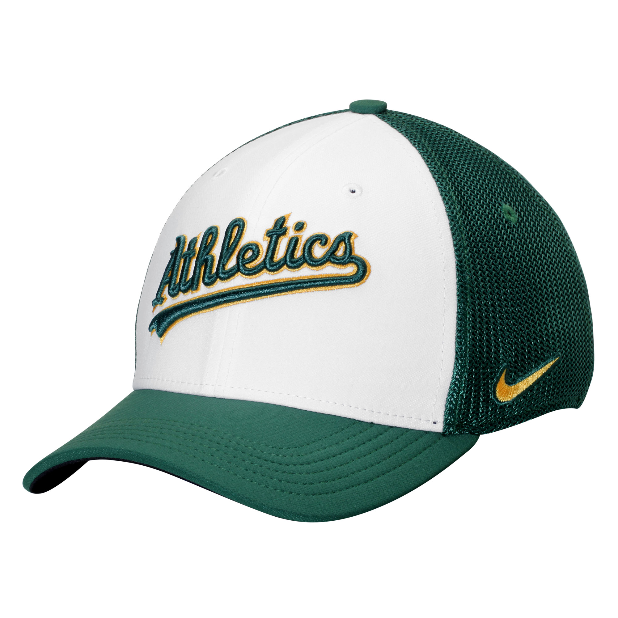 Oakland Athletics Nike Vapor Performance Swoosh Flex Hat - White/Green
