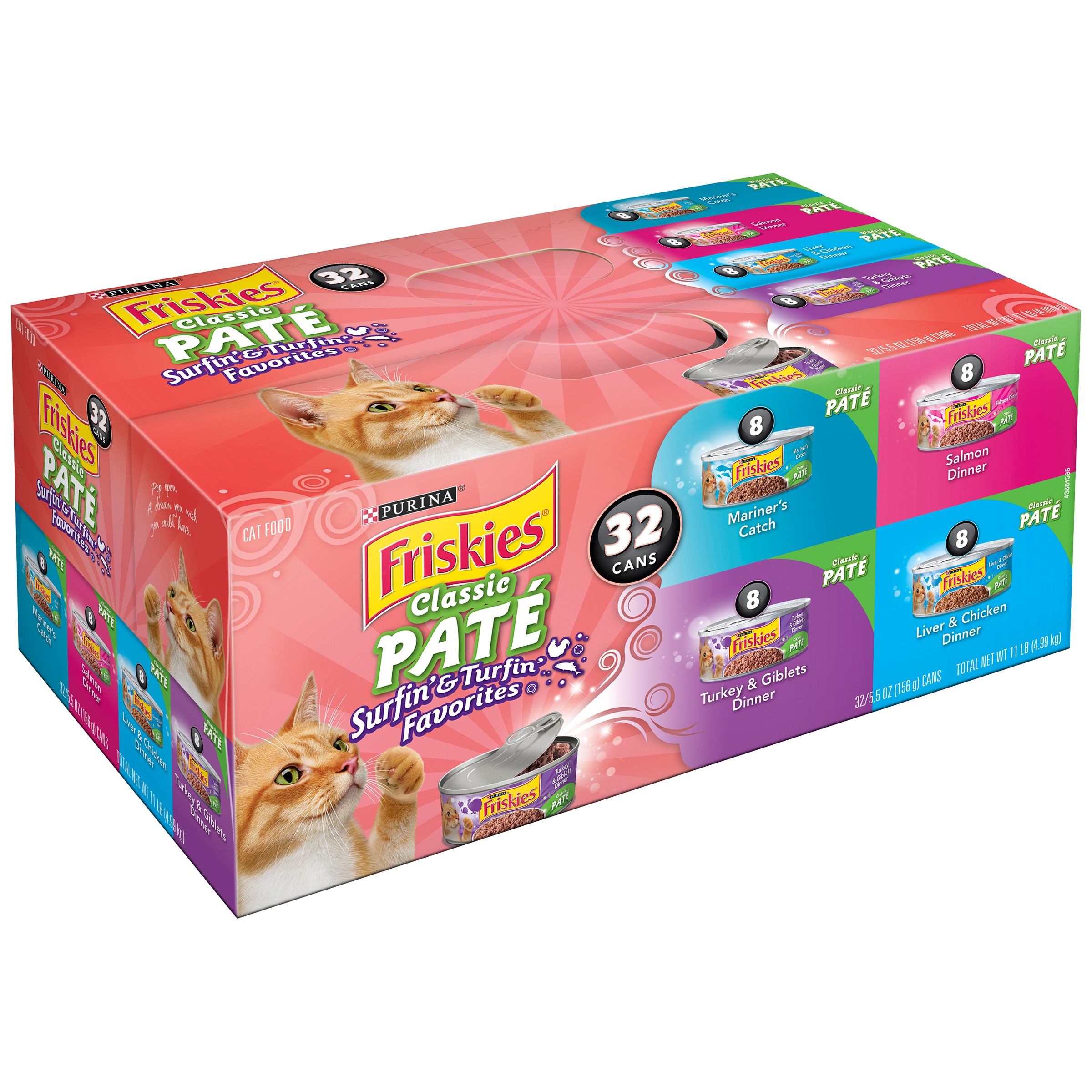 Purina Friskies Classic Pate Surfin' & Turfin' Favorites Cat Food Variety Pack 32-5.5 oz. Cans