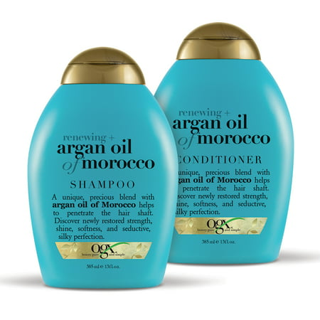 OGX Renewing + Argan Oil of Morrocco Shampoo & Conditioner Set 13oz, 2 (Best All Natural Shampoo And Conditioner)