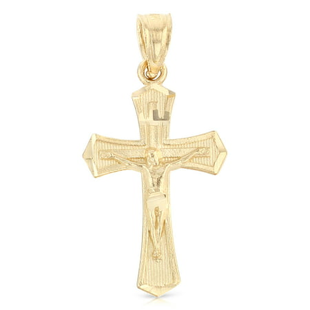 - 14K Yellow Gold Jesus Crucifix Cross Religious Charm Pendant For Necklace or Chain