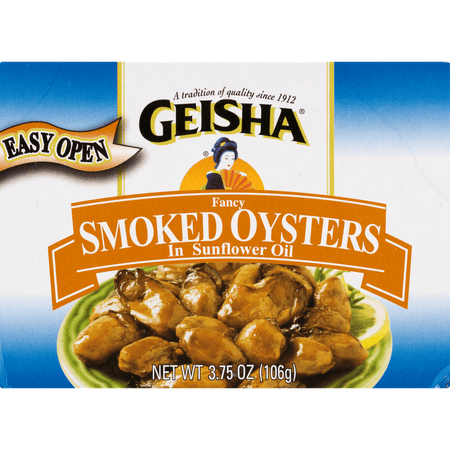 (4 Pack) Geisha Fancy Smoked Oysters in Sunflower Oil, 3.75