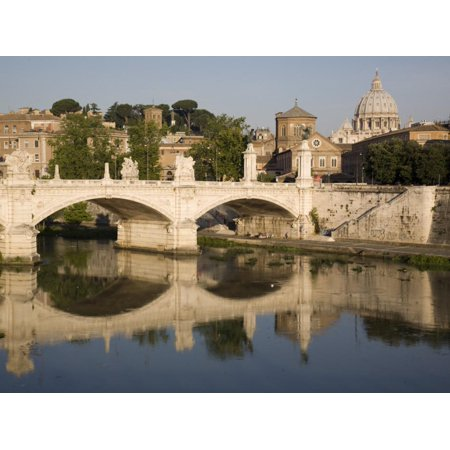 View of Vittorio Emanuele II Bridge, with St. Peters Dome, Rome, Lazio, Italy, Europe Print Wall Art By Olivieri Oliviero