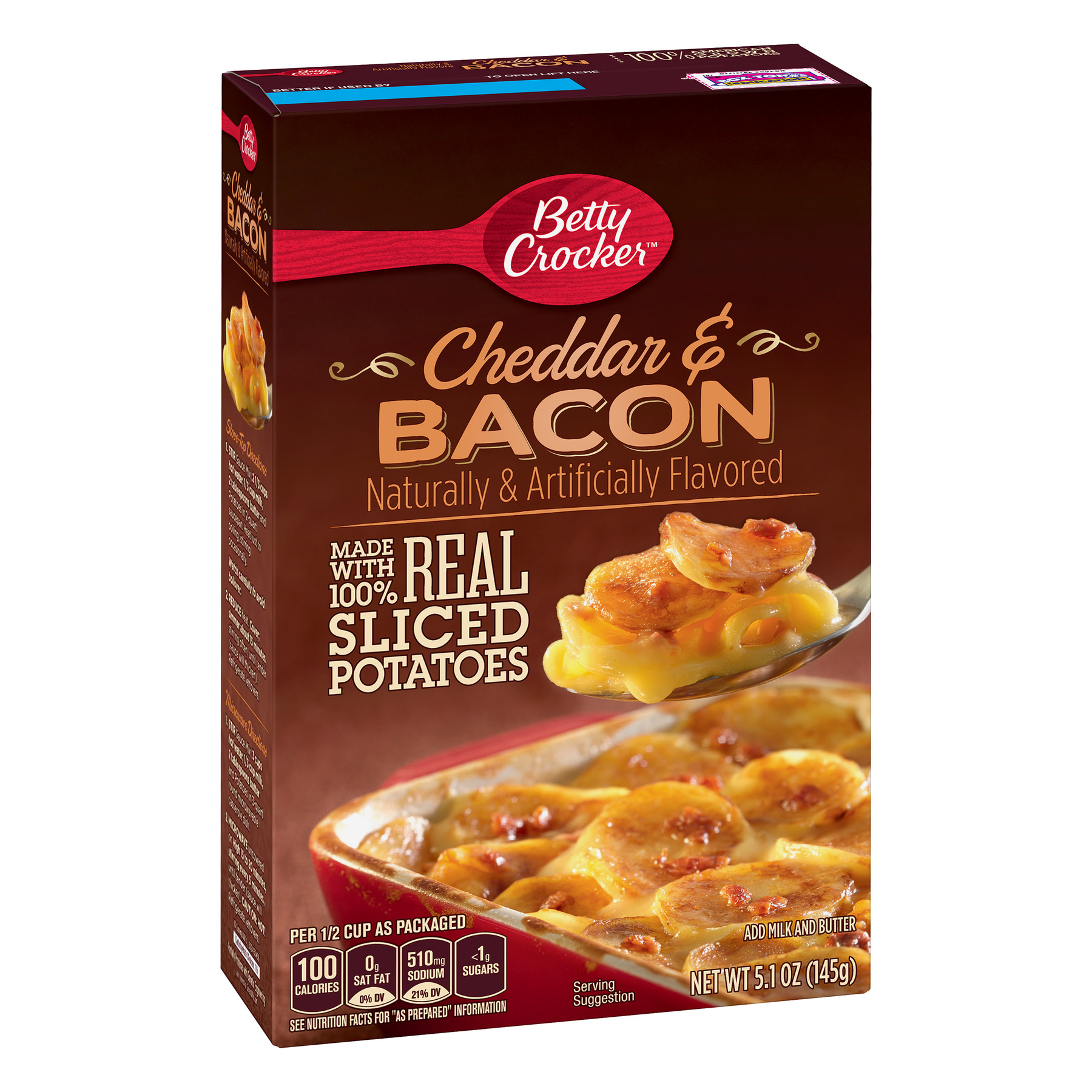 Betty Crocker Cheddar and Bacon Potatoes, 5.1 oz Box