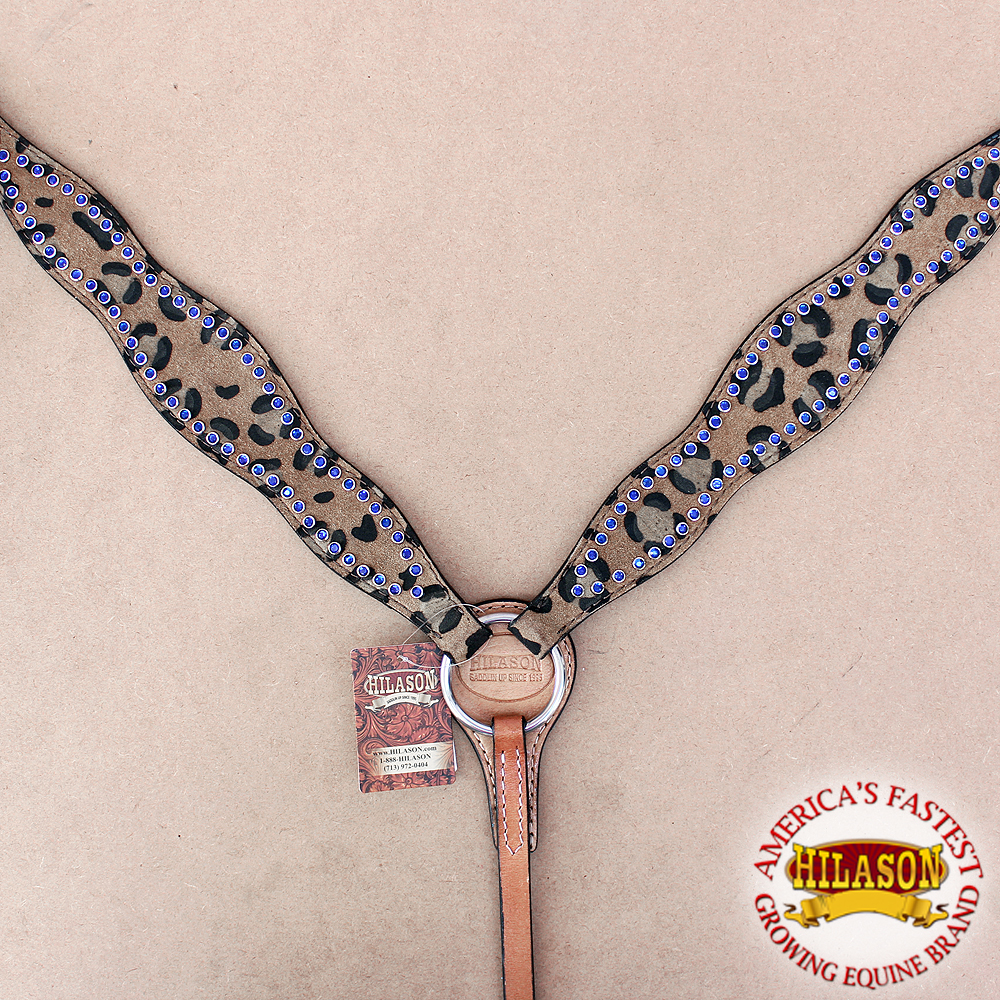 HILASON WESTERN AMERICAN LEATHER HORSE BREAST COLLAR CHEETAH BLUE CRYSTALS