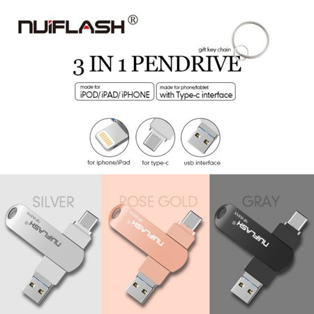 Flash Drive Compatible iPhone &Ipad and Android Phones Type C Devices,Tablets .Photo Stick for iPhone&Ipad Samsung Galaxy,LG,Google Pixel,Hua Wei ()