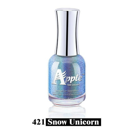 Apple Chrome 5G - Manicure & Pedicure Holographic Regular Nail Polish - #421 Snow (Unicorn Snow)