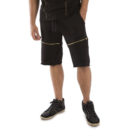 Vibes Gold Label Men Black French Terry Moto Active Shorts Drawstring Male Adult Zipper