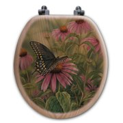 WGI-GALLERY Black Swallowtail Butterfly Oak Round Toilet Seat