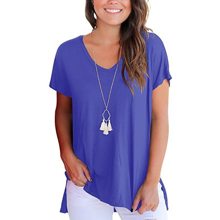 Women's Short Sleeve T Shirt V Neck Side Split High Low Hem Casual Loose Summer Blouse Ladies Solid Tunic Tops - High Low Split Poker