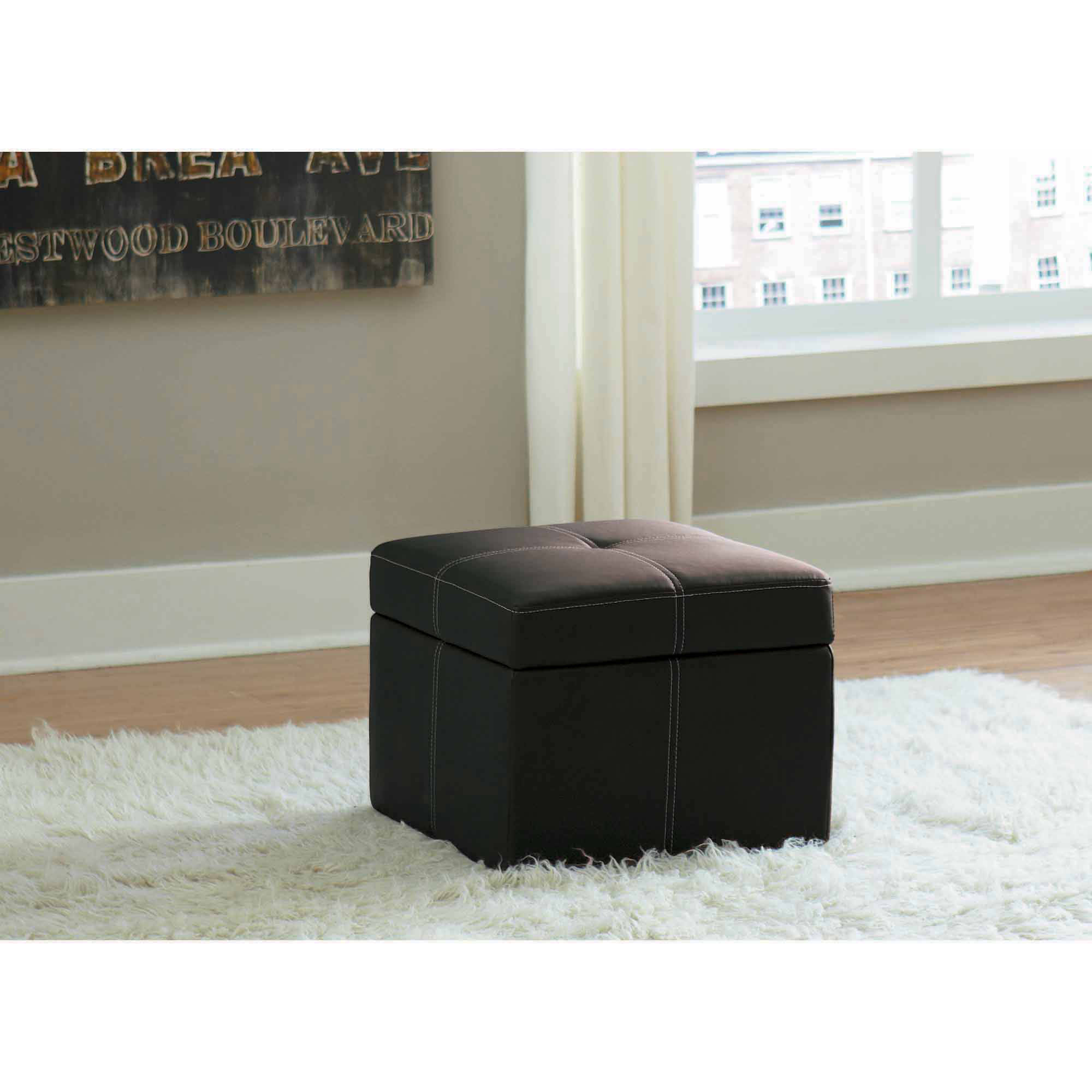 Prime Kinfine Faux Leather Cocktail Storage Ottoman Square Ncnpc Chair Design For Home Ncnpcorg