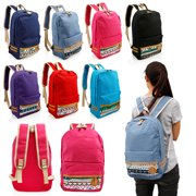 Fashion Women Canvas School Bag Girl Cute Satchel Travel School Backpack with Pattern Shoulder Rucksack