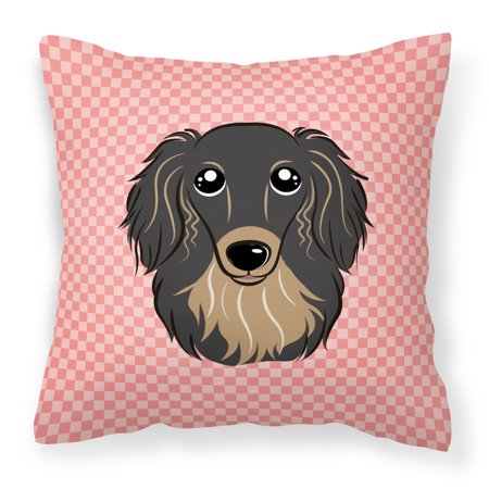 Carolines Treasures Checkerboard Pink Longhair Black and Tan Dachshund Square Decorative Outdoor Pillow