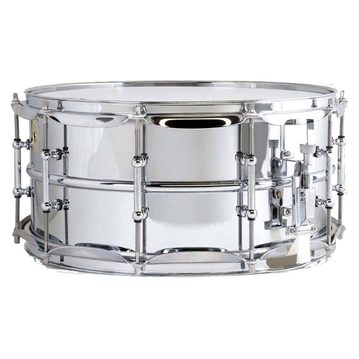 "Ludwig LM402 Smooth Chrome Plated Aluminum 6.5"" x 14"" Snare Drum w/ Imperial Lugs & Supra-Phonic Strainer"
