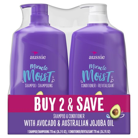 For Dry Hair - Aussie Paraben-Free Miracle Moist Shampoo and Conditioner Bundle (Best Shampoo And Conditioner For Soft Hair)