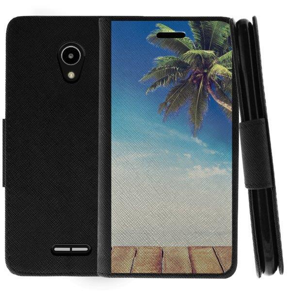 TurtleArmor ® | For Alcatel IdealXCITE | CAMEOX | U50 | Verso | Raven [Wallet Case] Leather Cover with Flip Kickstand and Card Slots - Tropic Haven