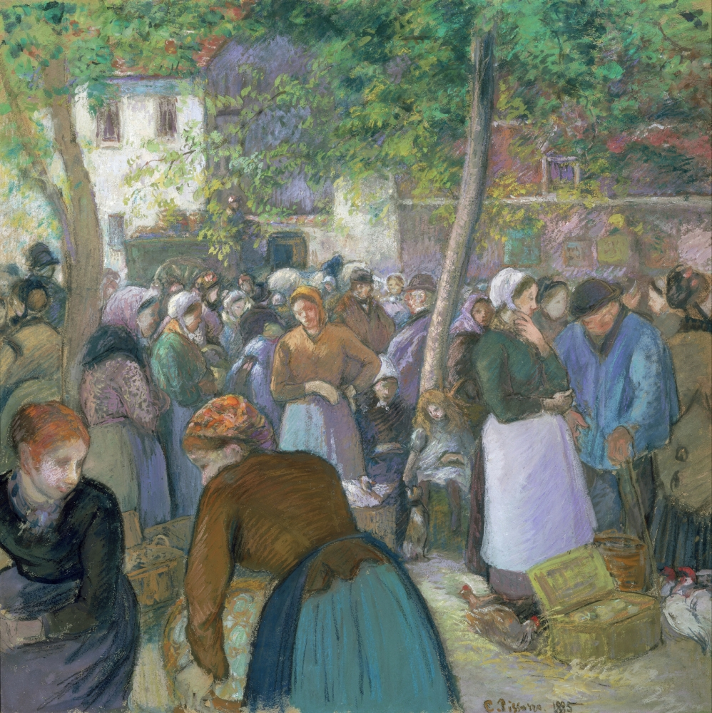 Pissarro The Market 1885 NThe Market In La Volaille Gisors Oil On Canvas Camille Pissarro 1885 Rolled Canvas Art -  (24 x 36)