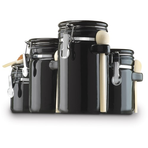 ceramic kitchen canisters sets anchor hocking 4 ceramic canister set black 16636