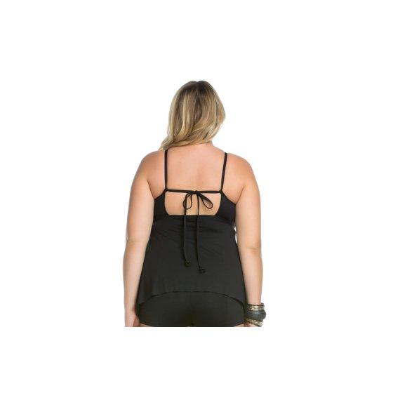 931b4ccfeb577 Becca ETC - Women s Plus Size Black Beauties Front Openwork Ringlet ...