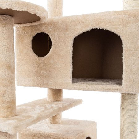 SEGMART 52'' Cat Climb Tree, MultiLevel Cat Activity Tree Tower Luxury Condos with Scratching Posts, Slope, Cat Climb Tower Pet Tool for Ragdoll, Oriental Cat, American Curl, Bengal Cat, Beige, S6738