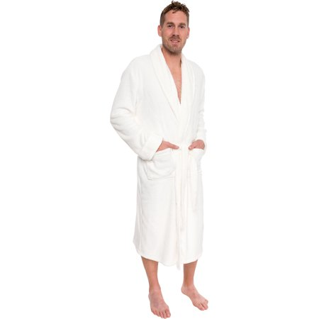 Ross Michaels Mens Plush Shawl Collar Luxury Kimono Bath Robe (White, S/M) - Princess Leia White Robe