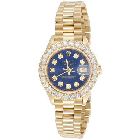 Rolex 18K Gold 26mm President DateJust 69178 VS Diamond Watch Blue Dial 2.08 (18k Solid Wrist Watch)