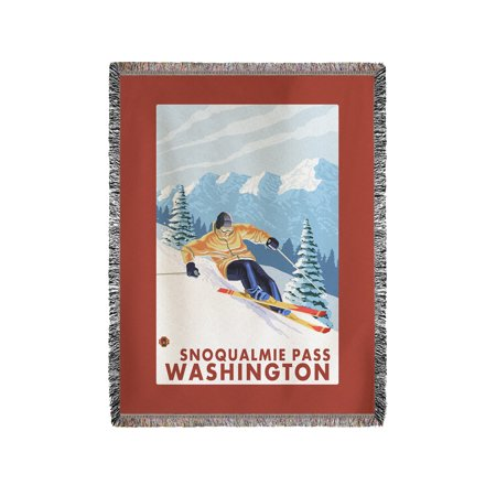 Downhhill Snow Skier   Snoqualmie Pass  Wa   Lp Original Poster  60X80 Woven Chenille Yarn Blanket