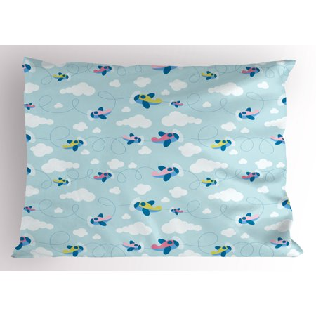 Scrapbooking Queen (Kids Pillow Sham Cartoon Style Sky with Airplanes and Clouds Swirls Scrapbook Design Pattern, Decorative Standard Queen Size Printed Pillowcase, 30 X 20 Inches, Baby Blue Pink White, by Ambesonne )