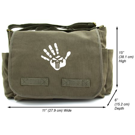Punisher We Know Handprint Heavyweight Canvas Messenger Shoulder (We Know The Sound Of Two Hands Clapping)