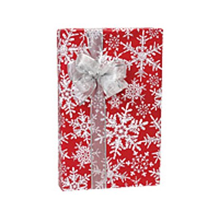Red with White Christmas Snowflakes Holiday /Christmas Gift Wrapping Paper 16ft