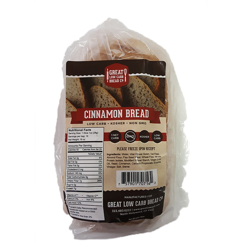 Great Low Carb Bread Company - 1 Net Carb, 16 oz, Cinnamon Bread
