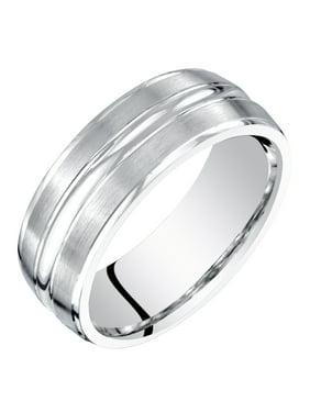 Men's 7mm Brushed Matte Comfort Fit Wedding Band Ring in 14K White Gold