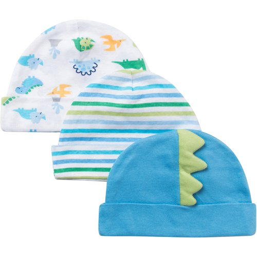 Gerber Newborn Baby Boy Embroidered Dinosaur Caps, 3-Pack