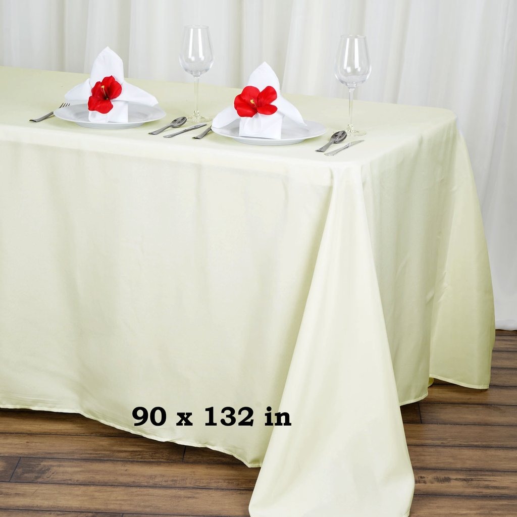 BalsaCircle 90\  x 132\  Rectangular Polyester Tablecloth for Party Wedding Reception Catering Dining Home Table Linens - Walmart.com & BalsaCircle 90\