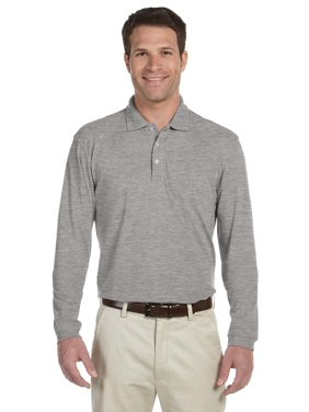 258f8b775 Product Image Branded Harriton 56 oz Easy Blend Long Sleeve Polo Shirt -  GREY HEATHER - L (