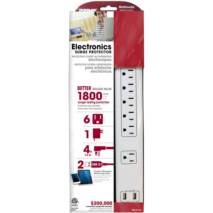 Prime PB525106 6-Outlet 14/3 SJT Electronics Surge Protector, White