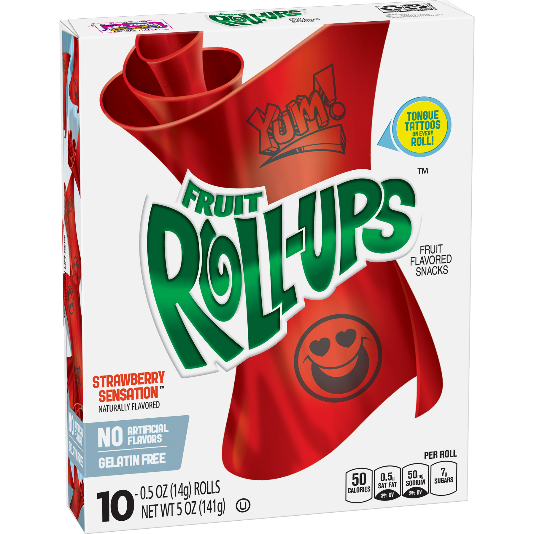 (4 Pack) Fruit Snacks Fruit Roll-Ups Strawberry Sensation 10 Rolls 0.5 oz Each