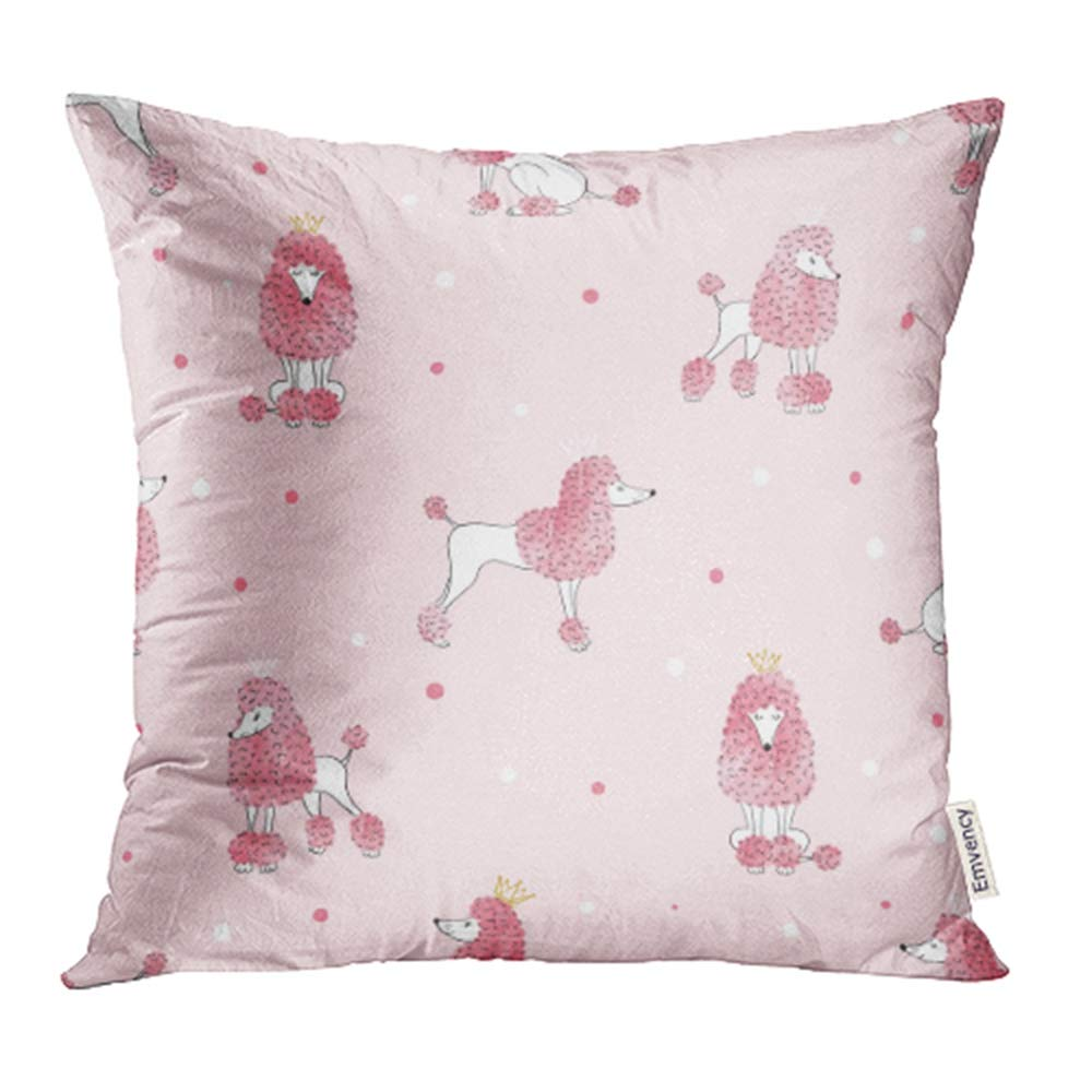 YWOTA Drawn Poodle Dog Pattern in Pink Color with Cute Watercolor Design Hand Kids Animal Pillow Cases Cushion Cover 20x20 inch