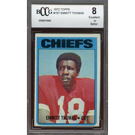 1972 Topps  157 Emmitt Thomas Kansas City Chiefs Rookie Card Bgs Bccg 8